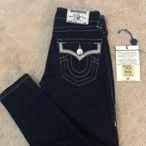 Bling dark wash super skinny true religion jeans